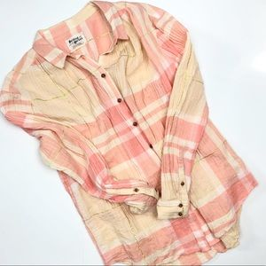 Anthropologie Holding Horses Plaid Pink Top